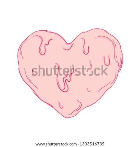 Pink love symbol. Caligraphy romantic design. Graphic vector melted amour drawing sign