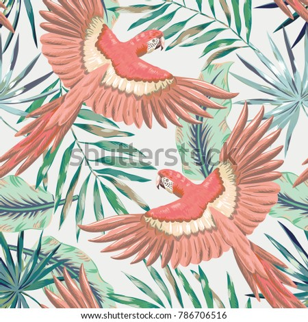 pink macaw parrots with green