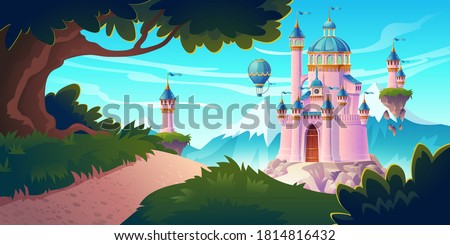 Pink magic castle, princess or fairy palace at mountains with rocky road lead to gates with flying turrets and air balloons in sky. Fantasy fortress, medieval architecture. Cartoon vector illustration