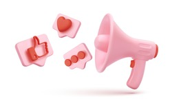 Pink megaphone with flying icons in bubbles isolated on white background. Vector illustration