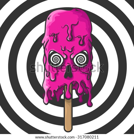 pink melting skull of ice cream
