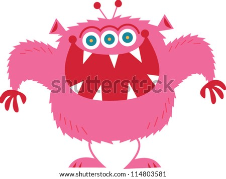 Pink Monster - stock vector