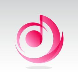 pink music logo design inspiration . music icon design template . musical notes icon . modern music logo . circle logo template