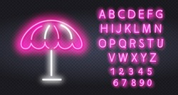 Pink Neon Beach umbrella icon. Elements of Web in neon style icons. Simple icon for websites, web design, mobile app, info graphics