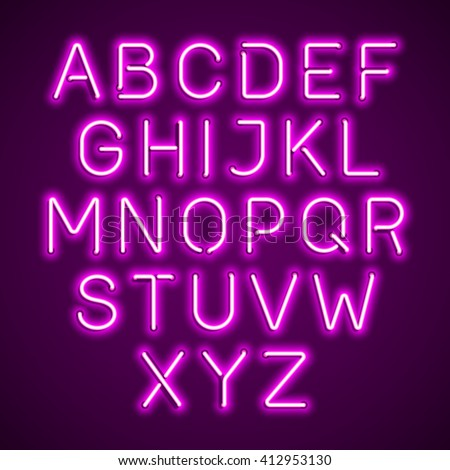 Pink neon light glowing alphabet. Vector.