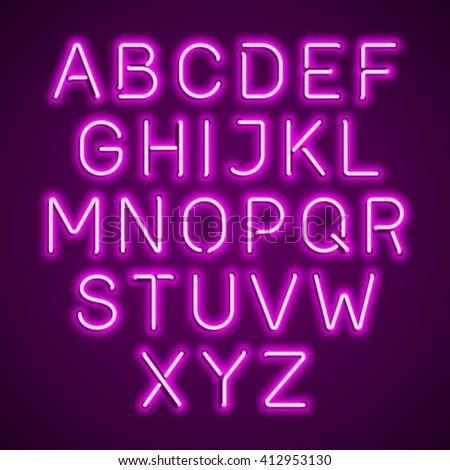 Pink neon light glowing alphabet. Vector.