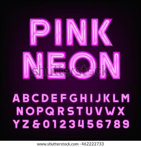 pink neon tube alphabet font