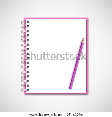 Pink Notebook and Pencil Vector