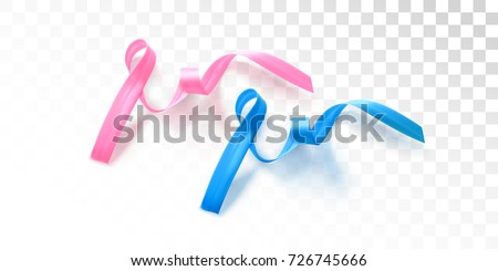 Pink october and Blue november isolated symbols. Breast and Prostate Cancer Awareness Pink and Blue Ribbons. Cancer prevention month campaign. Vector Illustration. Women and men healthcare concept