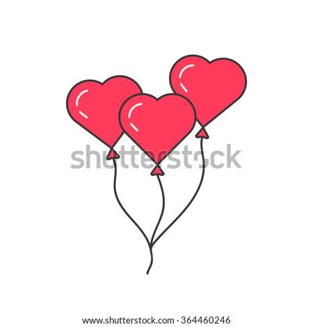 pink outline balloon like heart