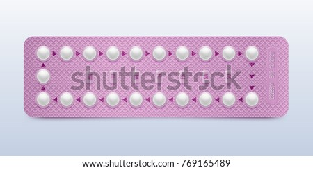Pink packaging of birth control pills. Contraceptive pill, hormonal pills, birth control pills. Women oral contraception. Planning pregnancy concept.Realistic blister with contraceptive pills.