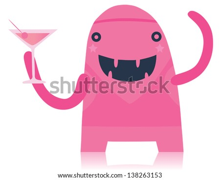Pink Party Monster with Cocktail