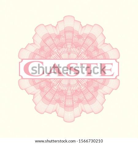 Pink passport rosette with text Caste inside