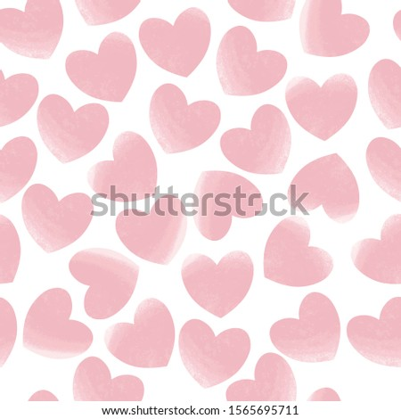 Pink pastel hearts seamless pattern white isolated. Love, romantic background, basis backdrop