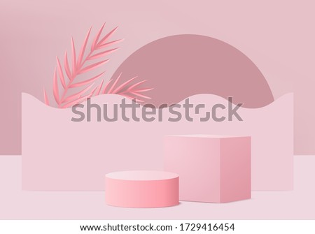 Pink pastel product podium on background render vector. stage minimal geometry concept. Studio scene platform theme. Exhibition and business marketing presentation stage. 3D stage rendering concept