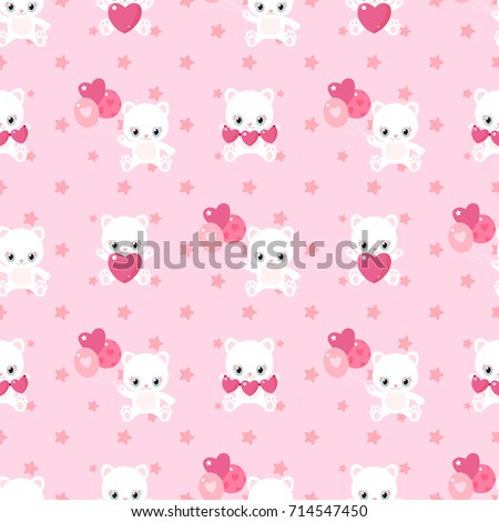 Pink pattern of cute cats for Valentine's Day. Kittens with hearts and balloons. Children's characters.