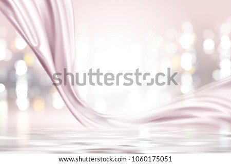 stock-vector-pink-pearl-satin-smooth-fabric-on-shimmering-bokeh-background-in-d-illustration