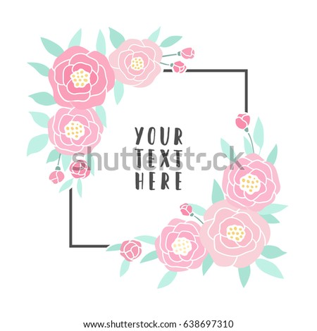Pink peonies frame. Vector hand drawn card template  #638697310