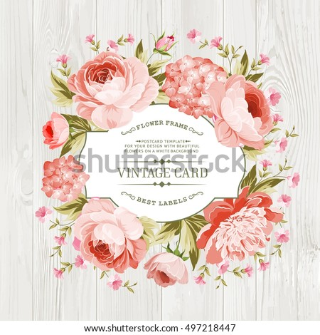 pink peony with a vintage label