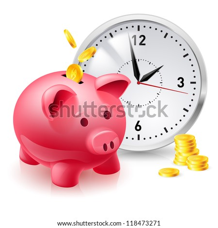 Pink pig bank with coins and clock. Illustration of designer on  white background