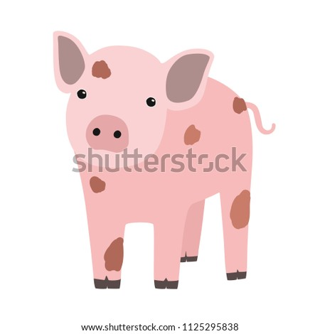 Pink pig or piglet isolated on white background. Portrait of funny cartoon barnyard animal, farm livestock or domestic pet. Colorful childish hand drawn vector illustration in modern trendy style.