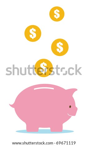 pink piggy bank and money