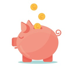 Pink Piggy Bank with Coins for Saving