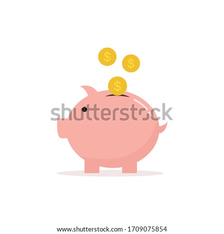 Pink Piggybank icon and dollar coin icons that are being poured into the piggy bank Simple and modern design, used for website illustration, vector illustration, isolated on a white background.