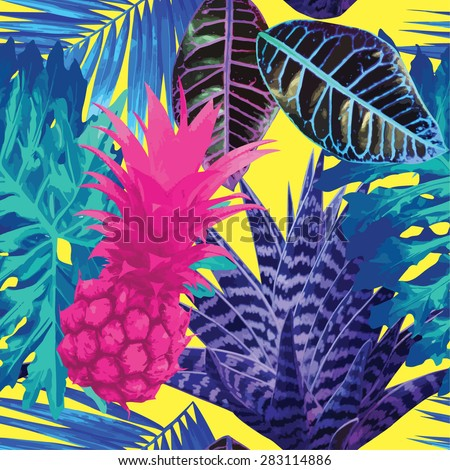 pink pineapple and blue exotic