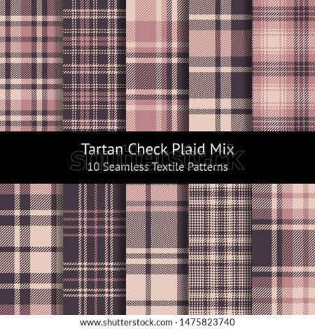 Pink plaid pattern set. Seamless tartan check plaid in pink and beige for flannel shirt, skirt, scarf, dress, poncho, blanket, throw, or other modern textile design. Pattern swatches included.