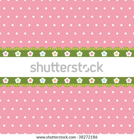 dot pink polka wallpaper. stock vector : pink polka dot background with green flower banner