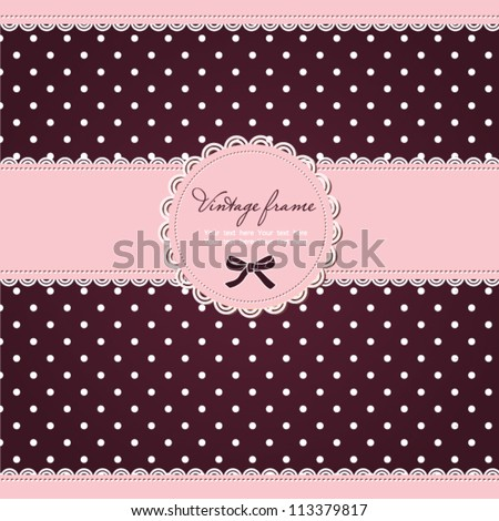 Pink polka dot card with frame and lace