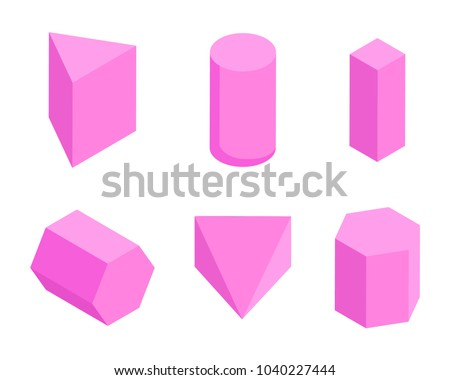 Pink prisms, set of six geometric figures banner, vector illustration with cylinder, cuboid and rectangular pyramid, hexagonal and triangular prisms