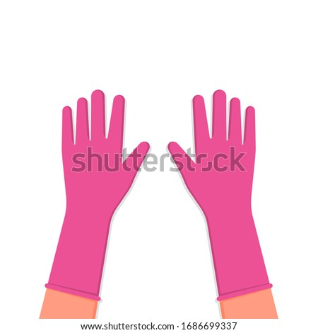 pink protective gloves on hands