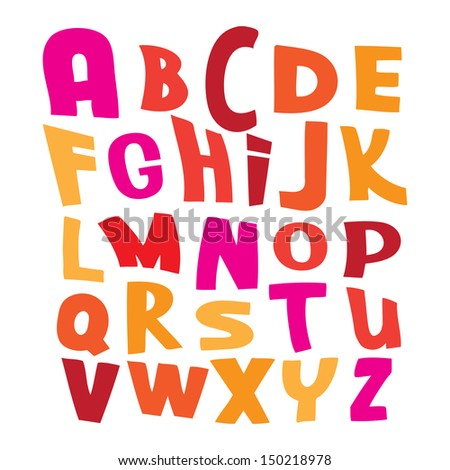 Pink red and yellow vector alphabet letters on white illustration