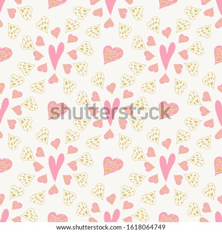 pink red gold hearts seamless