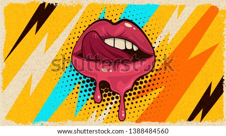 Pink, red lips, mouth and tongue  icon on pop art retro vintage colorful background. Trendy and fashion color illustration easy editable for Your design of poster and banner.