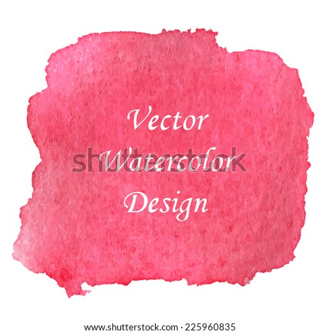 Pink red watercolor banner background. Vector illustration.