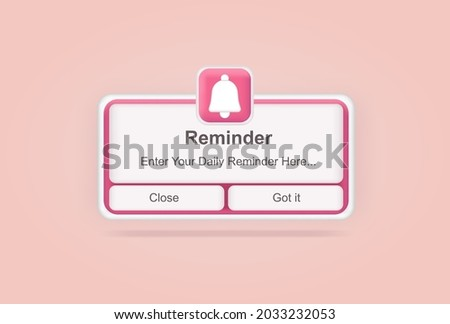 Pink reminder in 3d design mockup. Notifications. Web banner. Concept web design, website page development. Email marketing, online advertising concept. Calendar reminder.