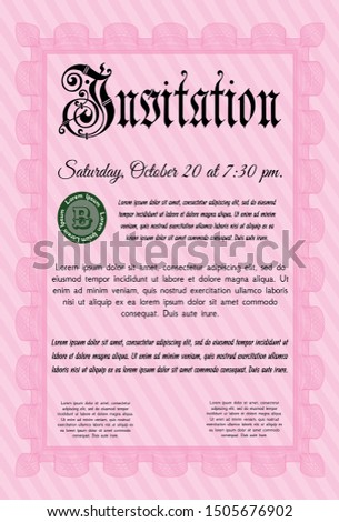 Pink Retro invitation template. With great quality guilloche pattern. Customizable, Easy to edit and change colors. Money design.