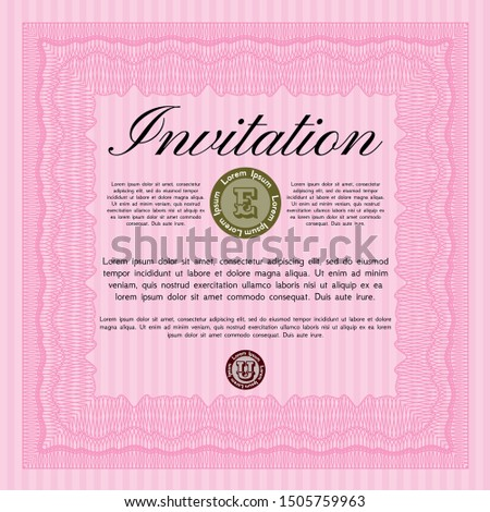 Pink Retro invitation template. With great quality guilloche pattern. Customizable, Easy to edit and change colors. Beauty design.