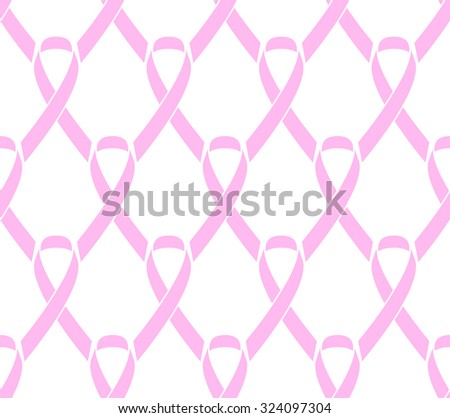 Flat Breast Cancer Awareness Ribbon With Background Vector