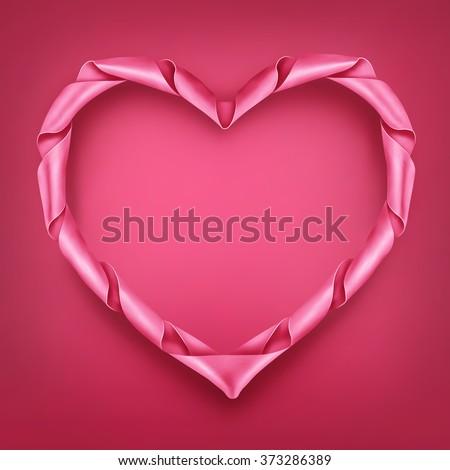 pink ribbon heart shaped frame