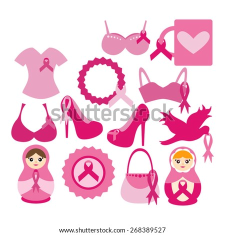 pink ribbon vector breast