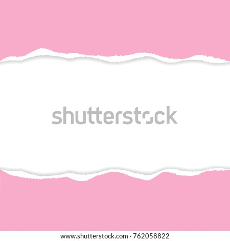 Pink ripped paper vector with copy space.