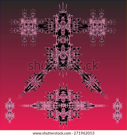 pink robots vector set