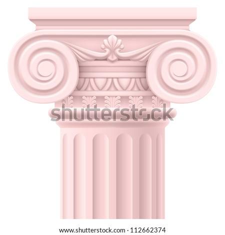 Pink Roman column. Illustration on white background for design