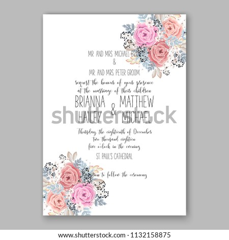 Pink rose Floral wedding invitation or greeting card/ Wreath of flower for marriage baby shower bridal shower invitation, party celebration vector printable template watercolor background