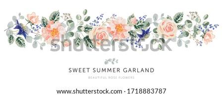 Pink rose flowers, forest green, gray leaves garland, white background. Wedding invitation banner. Vector illustration. Floral arrangement. Design template greeting card