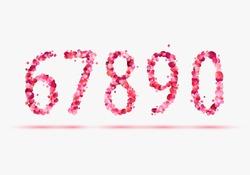 Pink rose petals numeral figures. 6, 7, 8, 9, 0
